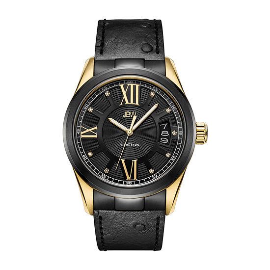 JBW 1/10 Ct. T.W. Genuine Diamond Mens Diamond Accent Black Leather Bracelet Watch-J6372a