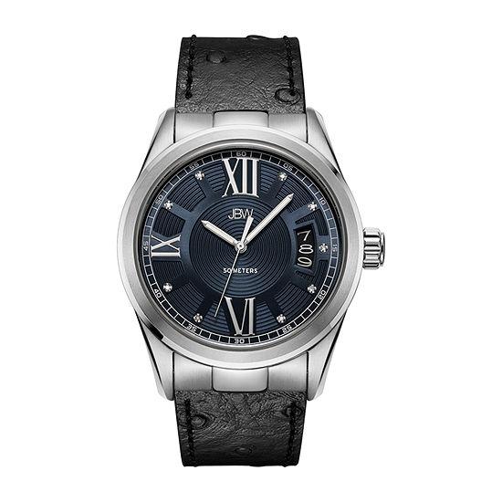 JBW 1/10 Ct. T.W. Genuine Diamond Mens Diamond Accent Black Leather Bracelet Watch-J6372c