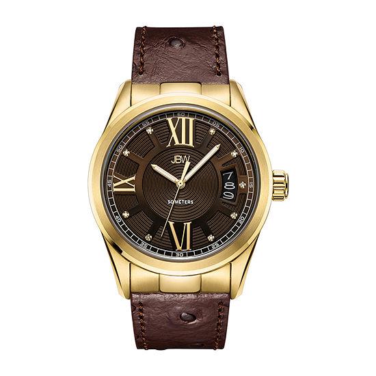 JBW 9 Diamonds/ 0.09 Ctw Mens Brown Bracelet Watch-J6372d