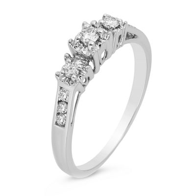 LIMITED QUANTITIES! Womens 1/4 CT. T.W. Genuine White Diamond 10K White Gold Engagement Ring