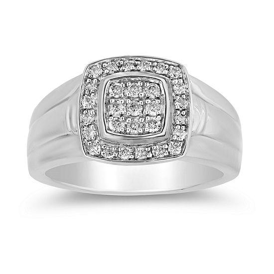 LIMITED QUANTITIES! Mens 1/2 CT. T.W. Genuine White Diamond Sterling Silver Fashion Ring