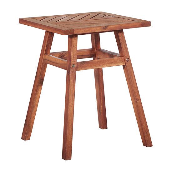 Walker Edison Acacia Wood Patio Side Table