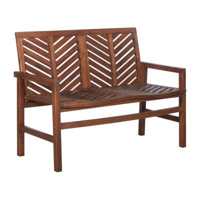 Walker Edison 48-Inch Acacia Wood Patio Bench