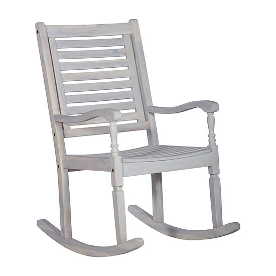 Walker Edison Acacia Wood Patio Rocking Chair