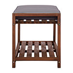 Walker Edison Acacia Wood Patio Bench
