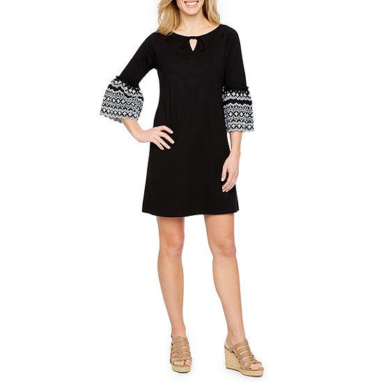 St. John's Bay 3/4 Sleeve A-Line Dress