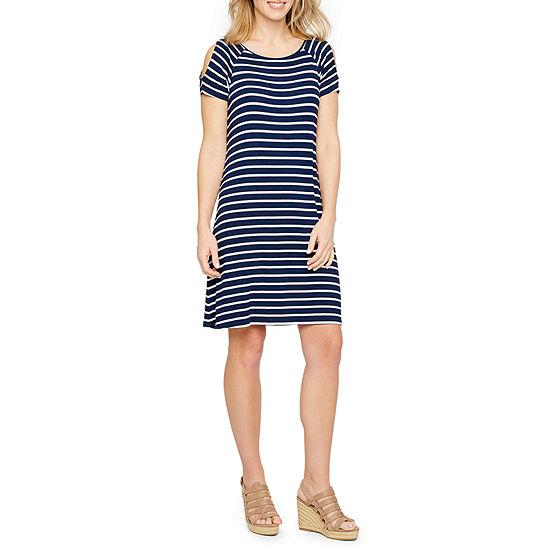 efdbad6a9b St. John's Bay Short Sleeve Cold Shoulder A-Line Dress - JCPenney