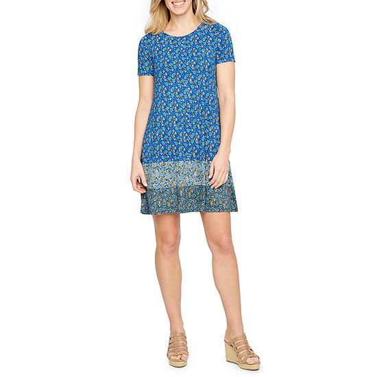 St. John's Bay Short Sleeve Printed A-Line Dress