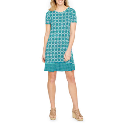 St. John's Bay Short Sleeve Medallion A-Line Dress
