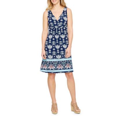 St. John's Bay Sleeveless Print A-Line Dress