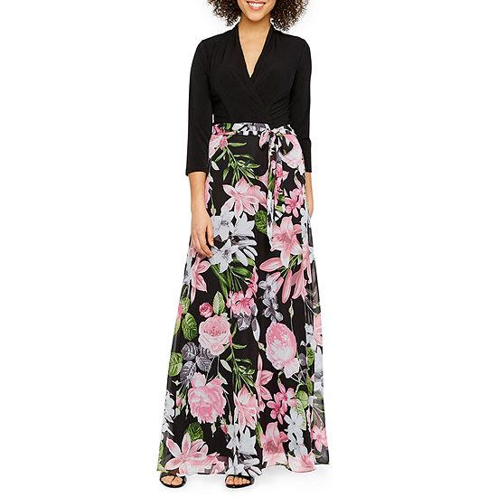 R & K Originals 3/4 Sleeve Floral Maxi Dress