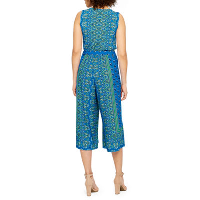 London Style Sleeveless Mixed Print Jumpsuit