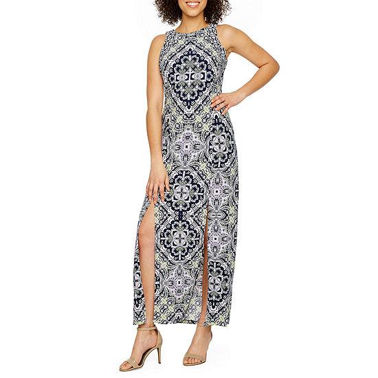 London Style Sleeveless Medallion Maxi Dress
