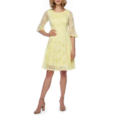 Rabbit Rabbit Rabbit Design 3/4 Bell Sleeve Lace Fit & Flare Dress