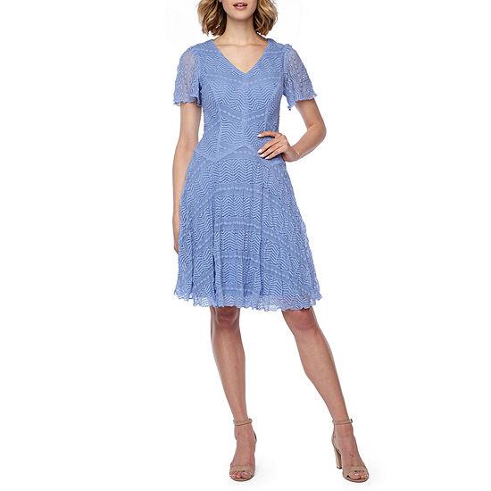 Rabbit Rabbit Rabbit Design Short Sleeve Lace Fit & Flare Dress