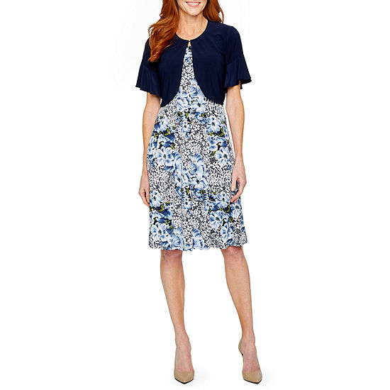 Perceptions Short Sleeve Floral Puff Print Jacket Dress Color Blue Jcpenney
