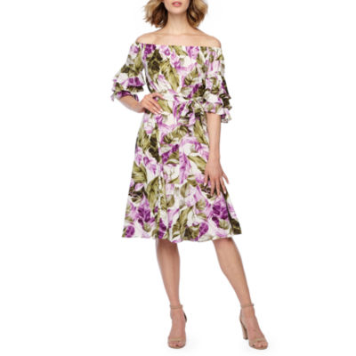 Danny & Nicole Off The Shoudler Floral Fit & Flare Dress