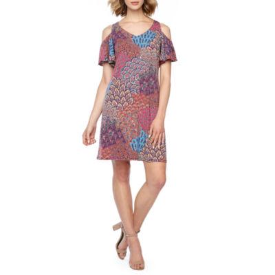 MSK Short Sleeve Cold Shoulder Feather Print A-Line Dress