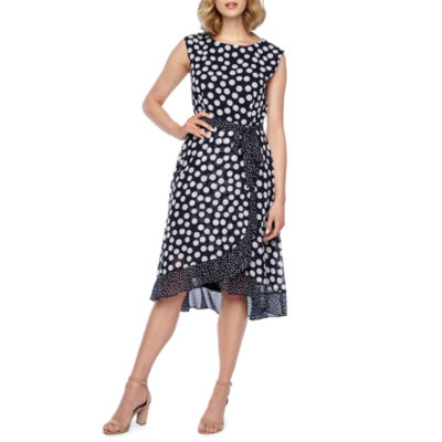 Studio 1 Sleeveless Polka Dot Fit & Flare Dress