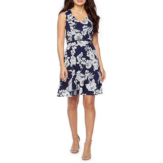 R & K Originals Sleeveless Floral Fit & Flare Dress-Petite