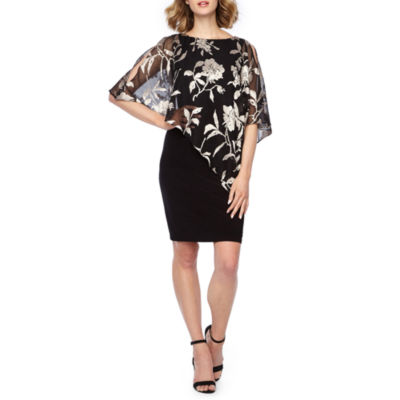 Scarlett Sleeveless Floral Cape Sheath Dress