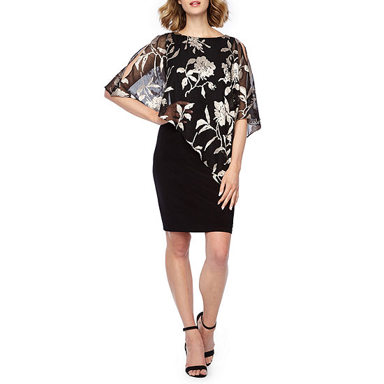 Scarlett 3/4 Sleeve Floral Cape Sheath Dress