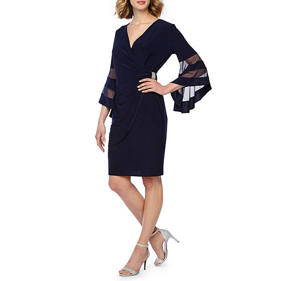 R & M Richards 3/4 Bell Sleeve Fit & Flare Dress