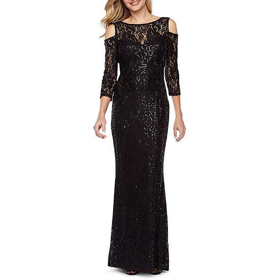 4baffcf74ae Blu Sage 3 4 Sleeve Cold Shoulder Sequin Evening Gown - JCPenney