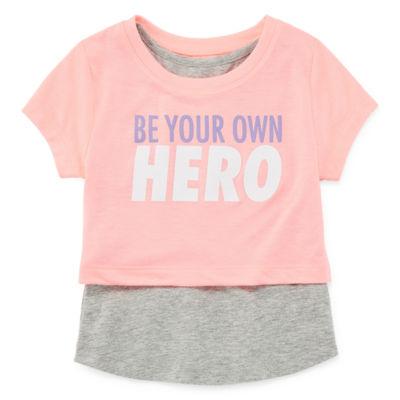 Xersion Girls Round Neck Short Sleeve Graphic T-Shirt-Toddler