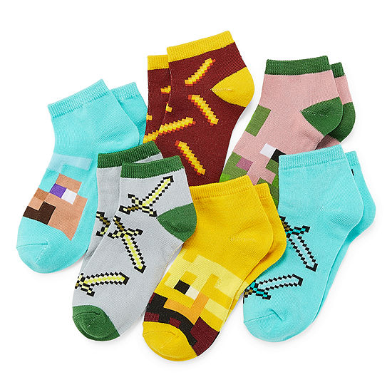 Minecraft Boy's 6 Pair Quarter Sock