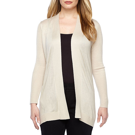 Liz Claiborne Womens Long Sleeve Cardigan-Petite