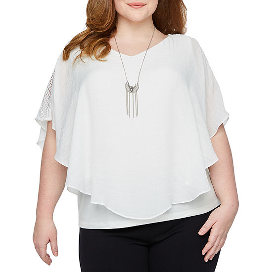 Alyx Womens Short Crochet Sleeve Woven Blouse with Necklace - Plus