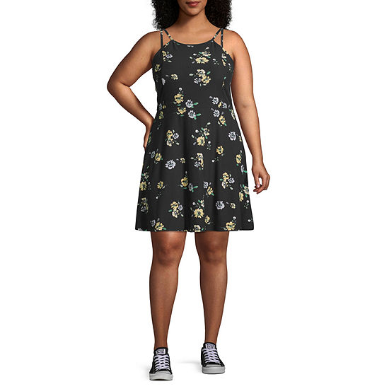 Arizona Sleeveless Floral Fit Flare Dress Juniors Plus