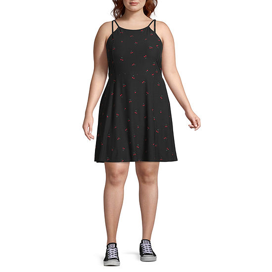 Arizona Sleeveless Fit & Flare Dress-Juniors Plus