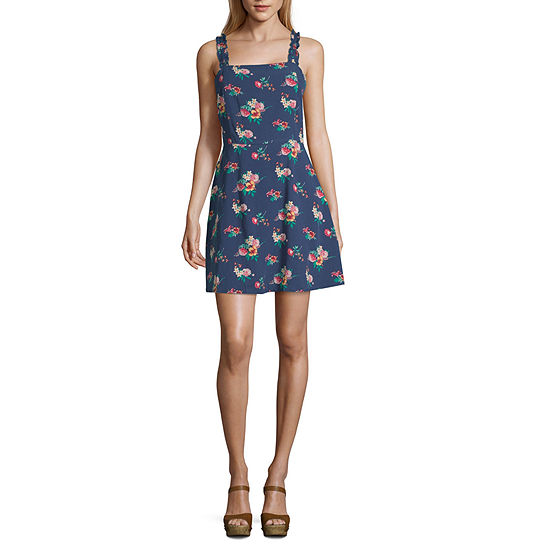 Society And Stitch Sleeveless Floral Fit & Flare Dress-Juniors