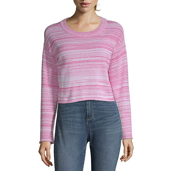 Arizona Womens Round Neck Long Sleeve Striped Pullover Sweater-Juniors