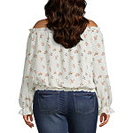 Arizona Womens Straight Neck Long Sleeve Blouse-Juniors Plus