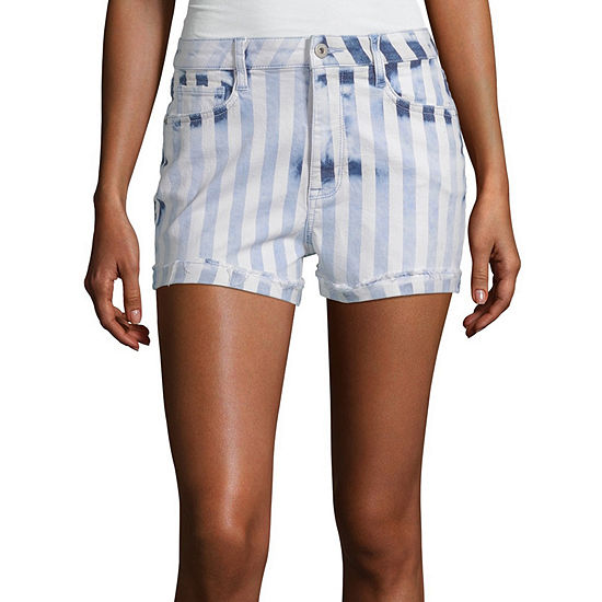 "Arizona Womens High Waisted 2 1/2"" Denim Short-Juniors"