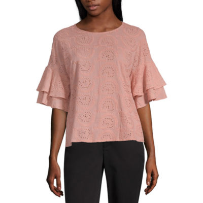 Liz Claiborne Ibiza Aves Womens Crew Neck Elbow Sleeve Blouse