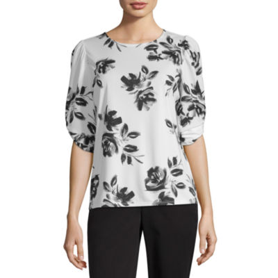 Worthington Womens Crew Neck Elbow Sleeve Blouse