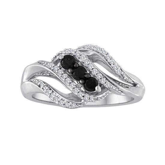 Midnight Black Diamond 1/3 CT. T.W. White and Color-Enhanced Black Diamond 3-Stone Crossover Ring
