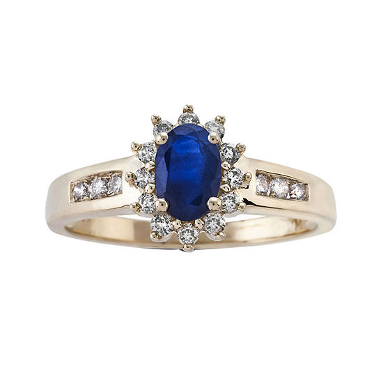 Oval Genuine Sapphire and 1/3 CT. T.W. Diamond 10K Yellow Gold Ring