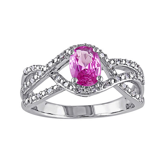 Oval Genuine Pink Sapphire and 1/6 CT. T.W. Diamond Crossover Ring