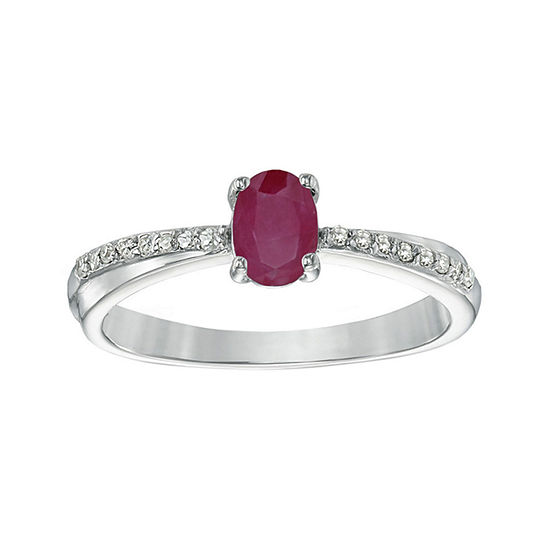 Lead Glass-Filled Ruby and Diamond-Accent Sterling Silver Oval Ring