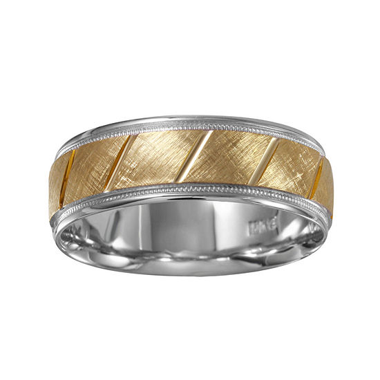 Mens 7mm 10K Two-Tone Gold Wedding Band