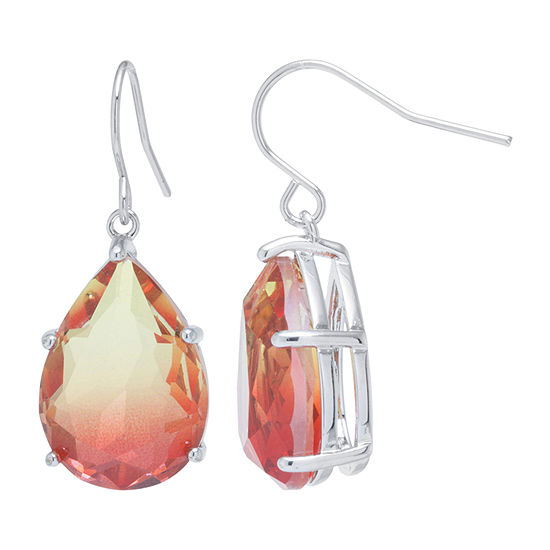 Sparkle Allure Pure Silver Over Brass Pear Drop Earrings