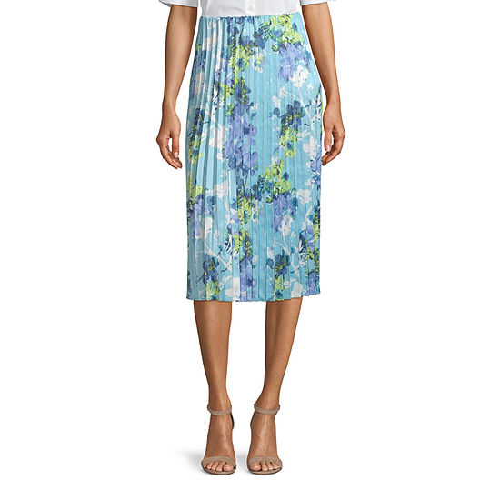 Worthington Womens Pleated Midi Skirt - Tall