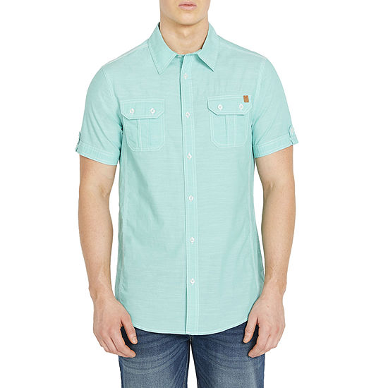 i jeans by Buffalo Mens Short Sleeve Button-Down Shirt