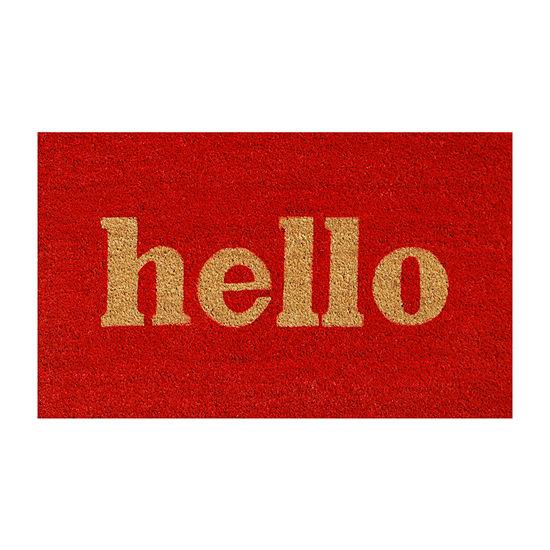 Block Hello Rectangular Outdoor Doormat