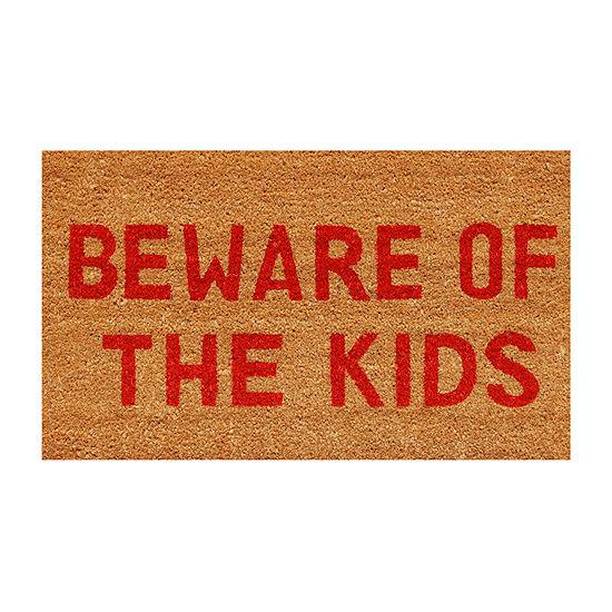 Beware Of The Kids Rectangular Outdoor Doormat